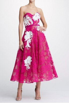 M26912A Fuchsia Strapless Corded Lace Midi Dress