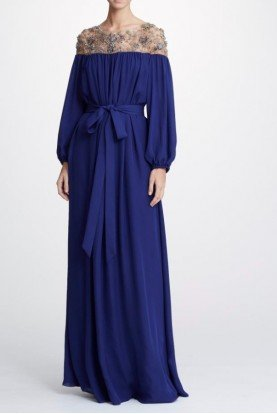 Marchesa M26705 Navy Blue Double Georgette Caftan Gown
