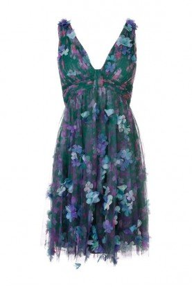 N31C0942 Sleeveless 3D Floral Cocktail Dress