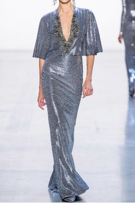 Badgley Mischka Couture Deep V Neck Embellished Sequin Evening Gown