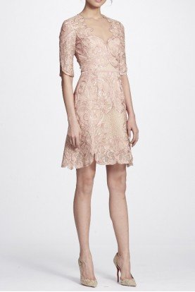 Blush Metallic Filigree Embroidered Cocktail Dress