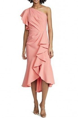 One Shoulder Crepe Midi Dress in Coral N30G0868