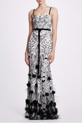Ivory Sleeveless Feather Embroidered Gown N33G1000