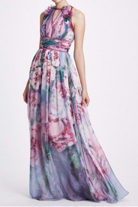 Sleeveless Lavender Printed Chiffon Gown N33G1002