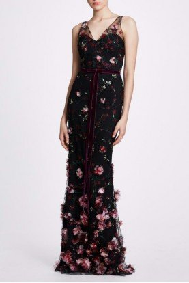 Black Sleeveless 3D Flower Embroidered Gown