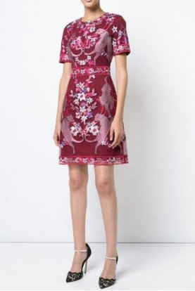 Wine Floral Short Sleeve Cocktail Dress N18C0479