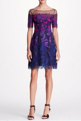 Marchesa Notte Navy Blue Short Sleeve Ombre Embroidered Dress