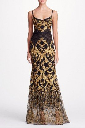 Black Sleeveless Embroidered Corset Gown N19G0517