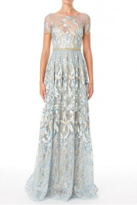 Light Blue Short Sleeve Embroidered Gown N19G0564