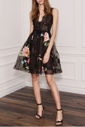 Black Sleeveless Floral Cocktail Dress N19C0543
