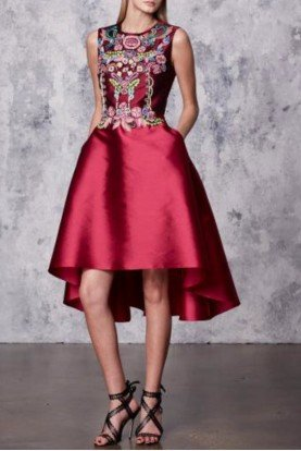 Marchesa Notte Sleeveless Fuchsia Mikado High Low Cocktail Dress