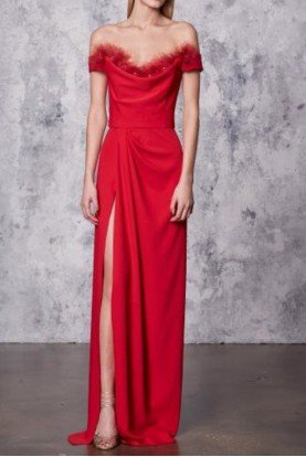 Red Off the Shoulder Crepe High Slit Gown N18G0466