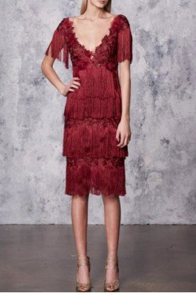 Marchesa Notte Wine Red Tiered Fringe Cocktail Dress N17C0457