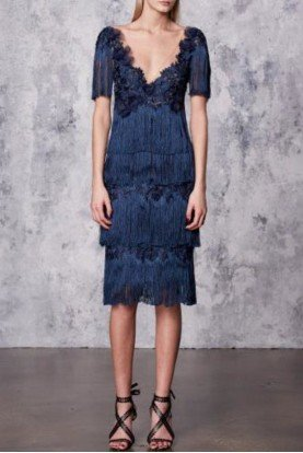 Marchesa Notte Navy Blue Tiered Fringe Cocktail Dress N17C0457
