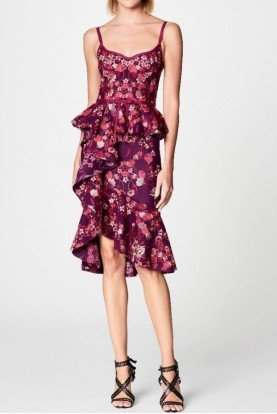 Purple Floral Print Ruffle Cocktail Dress N17C0456