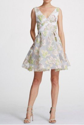 Ivory Sleeveless Metallic Floral Cocktail Dress