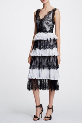 Marchesa Notte Black White Sleeveless Lace Scallop Midi Tea Dress