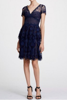 Navy Blue Tiered Cocktail Dress N29C0852