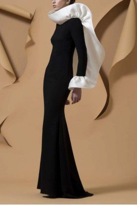 Black Long Sleeve Jaji Evening Gown