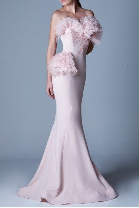 Blush Pastel Pink Strapless Evening Gown