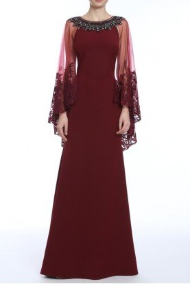 Burgundy Long Sleeve Lace Cape Gown