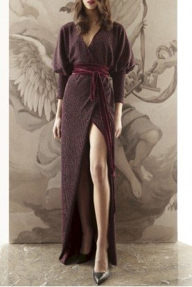 Bordeaux Tricot Lame Wrap Gown