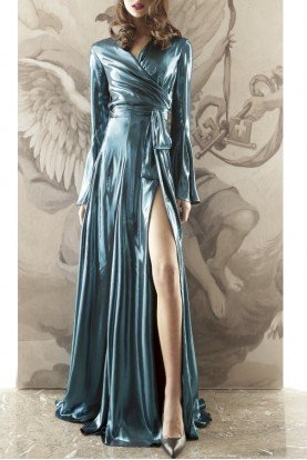 Long Sleeve Turquoise Metallic Wrap Gown