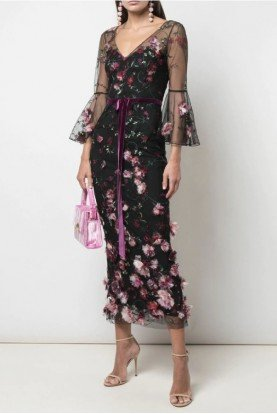 Marchesa Notte Flutter Sleeve Embroidered Midi Tea Dress