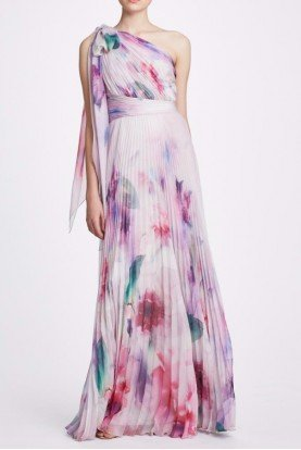 Marchesa Notte Blush Pink One Shoulder Printed Chiffon Gown