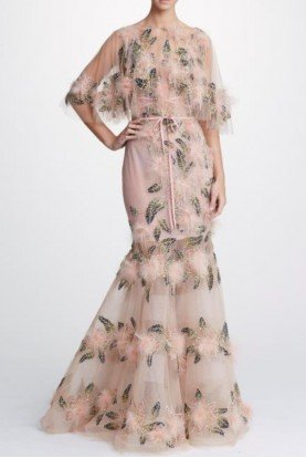 Plunging V Neck Tulle Gown w Capelet