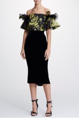Jacquard Off Shoulder Cocktail Dress