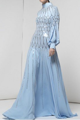 Light Blue Long Sleeve Esmerald Gown