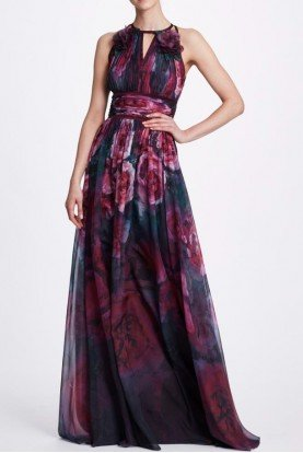 Sleeveless Printed Chiffon Gown in Plum N33G1002