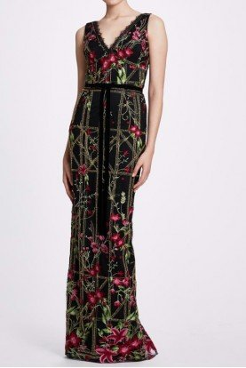 Marchesa Notte Black Embroidered Sleeveless Gown N33G1017