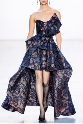 Navy Strapless Hi Lo Floral Jacquard Gown EG2851