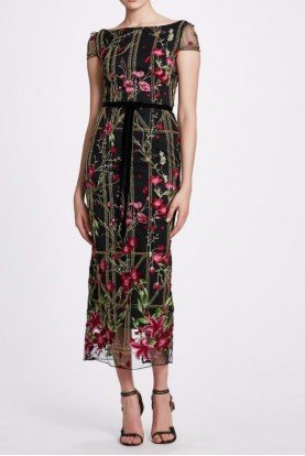 Black Embroidered Cap Sleeve Midi Dress N33M1026