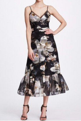 Marchesa Notte Black Floral Sleeveless Midi Tea Dress N33C0932