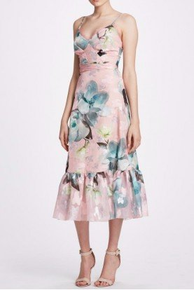Marchesa Notte Pink Floral Sleeveless Midi Tea Dress N33C0932