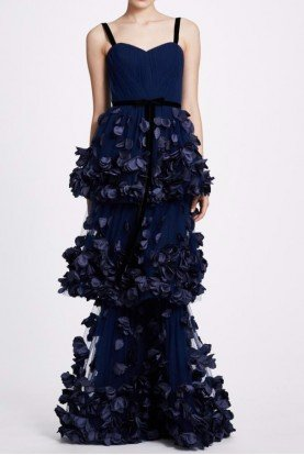 Navy Blue Sleeveless Tiered Gown N34G1011