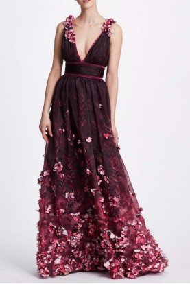 Plum Sleeveless V Neck Flower Beaded Evening Gown