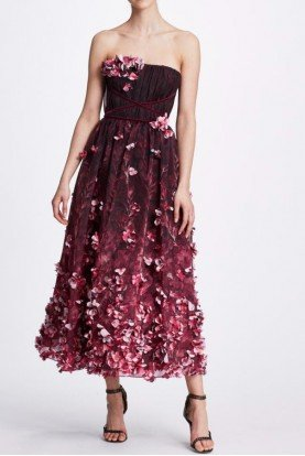 3D Flower Beaded Strapless Midi Tea Dress N34M1023