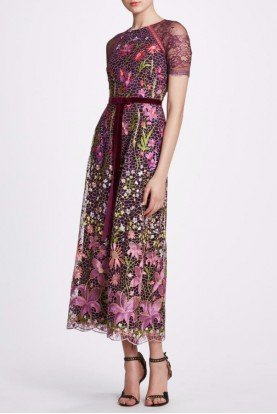 Short Sleeve Wine Color Floral Midi Tea Dress