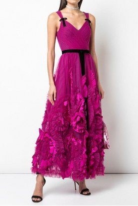 Marchesa Notte Berry Pink Sleeveless Midi Tea Dress