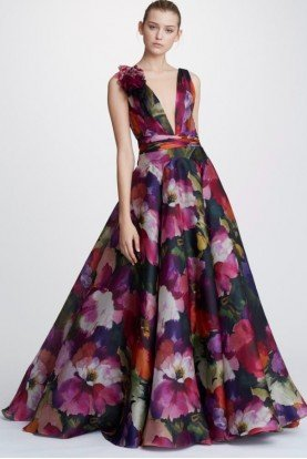 Floral Printed Silk Organza Ball Gown M26819