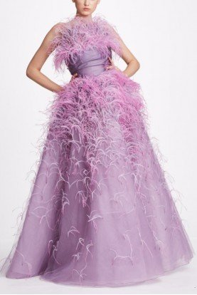 Lavender Tulle Strapless Ball Gown