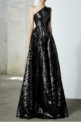 Jasper Black Sequin Reptile One Shoulder Gown