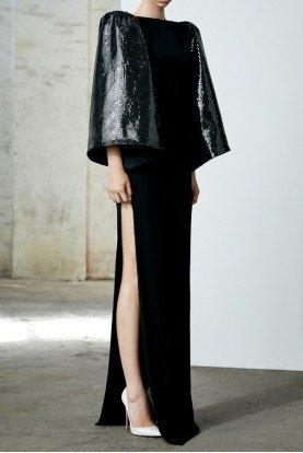 Beckett Black Sequin Cape Sleeve Gown