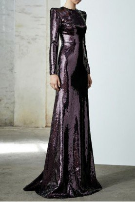 Felix Purple Sequin Long Sleeve Gown