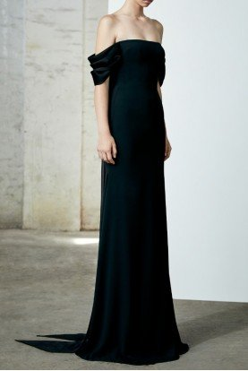 Linden Black Satin Crepe Off Shoulder Gown