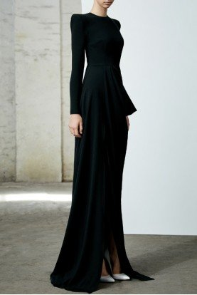 Knox Black Satin Crepe Long Sleeve Drape Gown